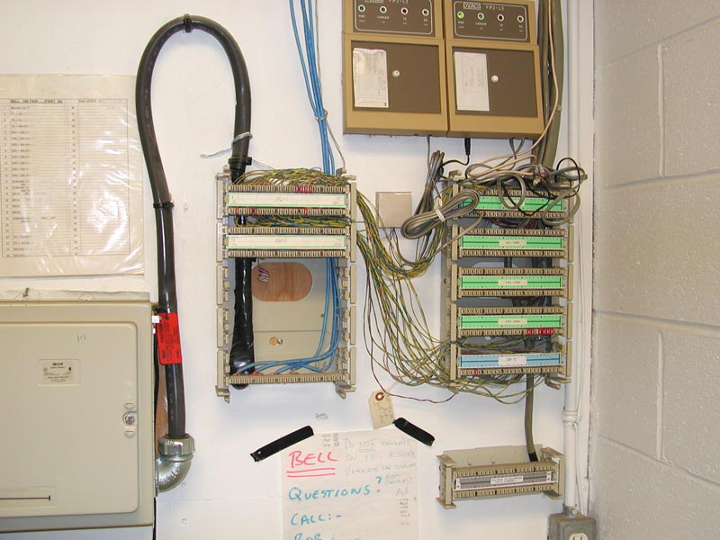 data communications equipment some are t1 here called megaroute by bell some are analogue phone lines here called 1fl by bell most sites aren t this organized to have