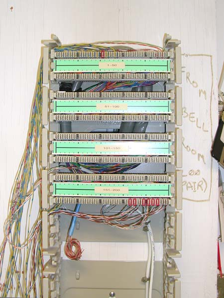 data communications equipment the 200 pair grey cable comes through the wall is coiled behind the bix wafers and the pairs are all punched down onto the back contacts